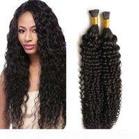 Brasilianisches lockiges Remy I Tip-Pre-gebundene menschliche Haarverlängerung 100% Human Fusion-Stick Vorgebundene Haarverlängerung Keratin