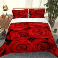 3D Rose Impreso Sistemas del lecho marino Suministros 3 PC elegante funda de almohada cubierta Qulit Camas de alta calidad en la acción