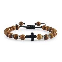 Perlé, brins faits à la main en bois naturel bracelet perlé en bois christian Jésus croix bracelets hommes hommes femmes prière yoga bijoux couple g