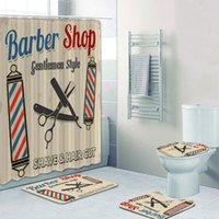 Vintage Barber Shop Rideau de douche Ensemble pour salle de bain Barber Shop Decor Toilette Baignoire Baignoire Accessoires Bain Rideaux Tapis Tapis Tapis F1224