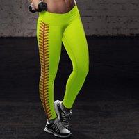 S-3XL Vita alta Pantaloni sportivi Pantaloni Softball Leggings Spandex Teggings Moda Neon Softball Stitch Yoga Sport Atletico Pantaloni da corsa Atletico E122307