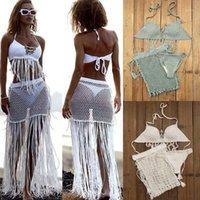 3-х кусок набор цыганские бохо ручная крючком бикини набор женщин Купальники кисточка юбка, с длинной бахромой пляжной юбкой Net1