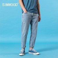 Simwood Verão Novo Ankle-Length Jeans Homens Confortável Capered Hole Moda Rasgado Denim Calças Plus Size Roupas SJ130406 201111