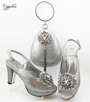 Платье обувь серебро с сумкой африканский высокий каблук и сумочка для вечеринки QSL024 высота 10см