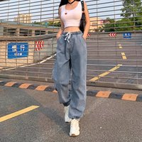 Womens Elastic Waist Casual Pants High Waist Jeans Casual Blue Denim Pants Women's Elastic Slacks High Jeans