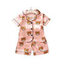 2021 새로운 여름 어린이 파자마 세트 소년 소녀 만화 곰 홈 착용 아이 2 피스 세트 반팔 양복 자녀 가정 의류 소매