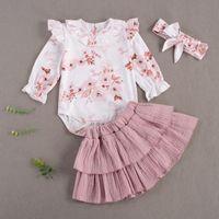 Conjuntos de ropa Pudoco Born Baby Girl Ropa Flor Impresión de manga larga Falbala Ramper Color Sólido Puesta plisada Burbuja Falda Diadema 3pcs Moda