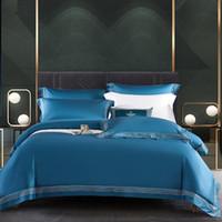 Novo quarto Quatro peças de cama de roupa de cama de inverno espesso calor cor sólido cetim tampa de edredão moda simples família conjunto de cama
