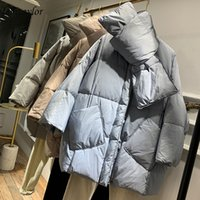 Fitaylor New With Scarf Duck Down Coat Winter Jacket Women Loose Warm Parkas Female Medium Long Down Jacket 201125