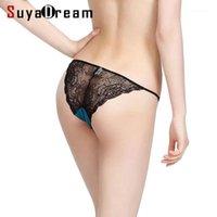 여성 팬티 여성 레이스 G 스트링 92 % 뽕나무 실크 8 % 스판덱스 섹시한 Hipster Thong Tanga Calcinha Briefs underwear1