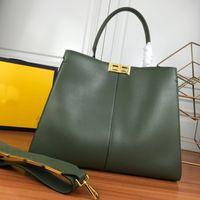 43cm de grande capacité sac fourre-tout doux lisse authentique cuir sac à main sac à main sac à bandoulière à bandes de bandes féminine shopping sac de fortune haute qualité