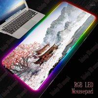 XGZ Japonya Kiraz Çiçeği Peyzaj Büyük Oyun Mouse Pad RGB LED Işık Büyük Mat Ofis Bilgisayar Klavye Hız PAD1