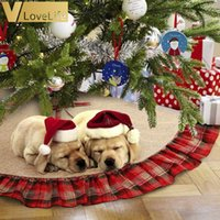 """48 """"크리스마스 트리 스커트 블랙과 붉은 격자 무늬 크리스마스 삼 베리 나무 치마 프릴 나무 장식품에 대 한 크리스마스 장식 201127"""