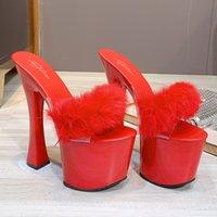 2021 17 cm Mulheres de salto alto 7cm sandálias de couro deslizam chinelos de bloco de luxo tamanho sexy fetiche sapatos 3250