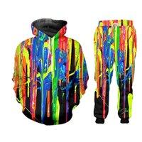 UJWI Renkli Gökkuşağı Zip Hoodies Takım Elbise erkek Kazak Joggers Komik Harajuku 3D Baskı Set Kış Unisex Eşofman Pantolon Ceket 201210