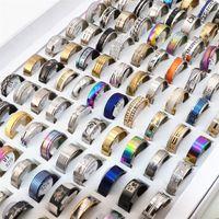 Commercio all'ingrosso 100 pz / lotti uomini donne anelli in acciaio inox anelli di modo gioielli di moda regalo di feste di nozze anelli di nozze miscela stile 201218