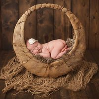 Newbornaphy Photography Prop Colulsy Burlap слой Net Hessian Jute Fundrop Officlet Y201001