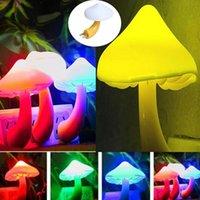 Sensör eklentisi led gece lambası sevimli mantar şekli çocuk lambaları yatak odası duvar lambaları ABD AB takı