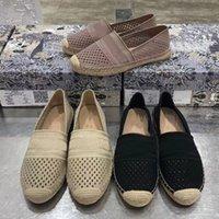 Zapatos casuales de fondo plano de alta calidad Cabeza redonda para mujer Zapatos individuales Bordado Holloder Out Fishermans Zapatos Paquete original Tamaño 35-41
