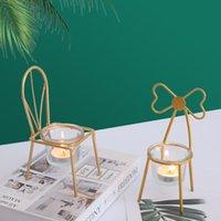 Porta in ferro a forma di candela a forma di matrimonio romantico tavola candela candele puntelli Tealight nero oro oro candela stand decorazione della casa