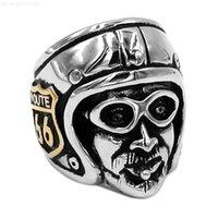 66 ücretsiz kulüp kargo! MC Altın Rota Paslanmaz Çelik Takı Klasik Ride Motosiklet Adam Motor Biker Erkekler Yüzük Toptan