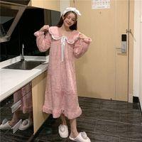2021 New Feminino pijama de pijama com capuz camisola de pelúcia pelúcia coral lã sleepwear mulheres outono e inverno roupas casas engrossar pijama 2aom