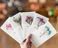 Blommor hälsningskort gypsophila torkade blommor handskriven välsignelse hälsningskort födelsedagspresentkort bröllop inbjudningar DHL Gratis frakt