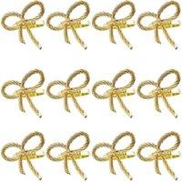 12 шт. Простая золотая салфетка для салфетки бабочка галстук бабочка салфетка пряжка отель ресторан рот тканье кольцо металл