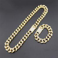 Heavy Cubic Zirconia Miami Collier Cubain Cubain Collier avec bracelet Collier Ensemble Gold Argent 20mm Big Couker Hip Hop Bijoux 74 K2