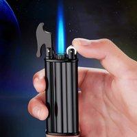 Nouvelle coupe-vent métallique butane butane briquet jet flameetorch flint tuyau de cigare plus léger fumeur accessoires gadget pour homme cadeau
