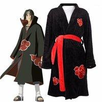 Costumes de Anime Naruto Cosplay Roupão de Roupão Akatsuki Uchiha Itachi Pijama Pijama Adulto Unisex Inverno Quente Nightwear Sleepwear Kimono Robe11