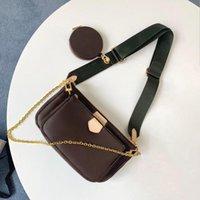 Лучшие роскошные классические дамы сумочка сумка 3а качество 3 в 1 Печатная сумка Mahjong с коробкой двухсторонней широкой цепи плечевой ремень мешандж