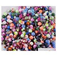 100pcs / lot Body Jewelry Piercing Sopracciglio ombelico Belly Tongue Lip Bar anelli Colore E3KVP