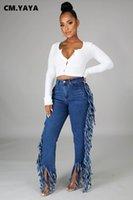 Cm. Yaya Kwastje Edge Splicing Vêtements Denim Femmes Retro Right Jeans Streetwear High Tayle Dame Broek