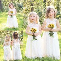 Bonito Full Lace Country Flower Girl Vestidos para casamentos 2017 novo boho moda pequeno bebê comunhão vestido barato uma linha crianças vestir formal