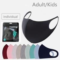 Stokta Yüz Maskesi Buz Ipek Tasarımcı Yetişkin / Çocuk Koruyucu Kapak Toz Geçirmez Kullanımlık Yıkanabilir Siyah Mascherine