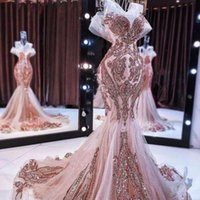 Новые розовые золотые русалки вечерние платья длинные блестящие блестки Amplique из бисера рыбий галстуки выпускные выпускные розы
