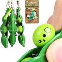 Baccello di fagiolo si agit popper piselli in un baccello virget toy toy toychain divertente espressione facciale alleviante catena giocattoli con chiave di soia regalo portachiavi