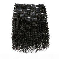 7pcs Set 120g Afro clip riccia viziosa nelle estensioni dei capelli umani peruviano remy clip clip clip 100% umano clip di capelli naturale