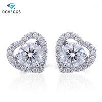 Otros DoVeggs Center 0.8CT 6MM F Colorless Moissanite Diamond Halo Stud Pendientes para mujeres En forma de corazón 14k Oro blanco Boda Pendiente1