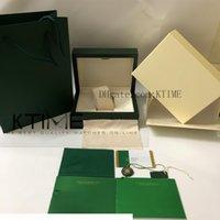 Neueste Hohe Qualität Grüne Uhr Box Papiere Karten Geldbörse Geschenk Holz Boxen Neue Handtasche für 116610 116660 126610 Uhren Fall Orologio di Lusso