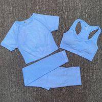 Модный дизайнер женские хлопчатобумажные йоги костюм гимзарки спортивная одежда трексуиты фитнес спорт три части набор 3 брюки бюстгальтерские футболки леггинсы наряды