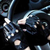 خمسة أصابع قفازات 1 زوج للجنسين أسود بو الجلود أصابع الإناث نصف اصبع الاصبع النساء الرجال الأزياء فاسق القفازات luvas1