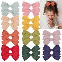 Großhandel Mädchen Haarklammern Bögen Kinder Grosgrain Baumwolle Stoff Bögen mit Clip Haar Clips Süßigkeiten Farben Baby Kopfschmuck Zubehör Geschenk