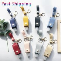 Portable Hand Sanitizer Holder Keychain 30ML PU Leather Keyring Travel Holder Leakproof Alcohol Bottle Cover Refillable Carriers FFF3062