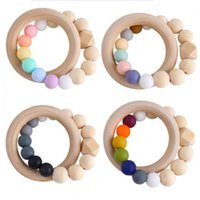 2021 DIY Wood Baby Teether Anéis Comida Grau Beech Beech Anel Anel Soothers Chew Brinquedos Duche Play Mascle Round Recém-nascido Silicone Dêmeos