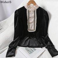 WOHERB Chic Kruvaze Gömlek Mizaç Kontrast Renk Bluzlar Kadın Standı Boyun Ruffles Puf Kol Bluz Kadife Tops