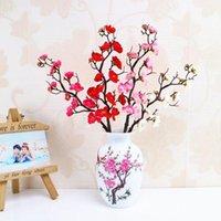 Cherry Flores Fleurs artificielles Sakura Arbre Branches Prune Rose Blossoms Jardin Accueil Décor De Mariage Décorations d'automne Indoor1