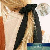 Moda Larga gasa accesorios para el cabello Ponillo de caballo Elástico Headwear Joyería Nuevo Color Sólido Bowknot Gasifón Diadema Pelo Scrunchie