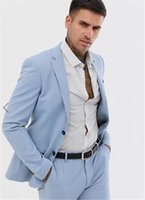 Light Blue Notch Lapel Men Suits Casual Men Suit Groom Tuxedos Blazer Pants Slim Fit Wedding Guest Wear Prom Party Formal Suit Custom Made